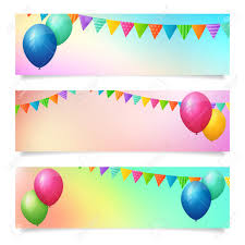 Set Of Birthday Summer Blurred Banner Background Isolated Layered