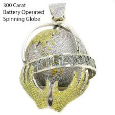 14k custom diamond spinning globe pendant with yellow and blue diamonds 300 ctw