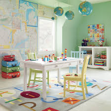 Colorful Playroom Rug Ideas With Alphabet Style And White Table Plus Chairs  For Kids Room