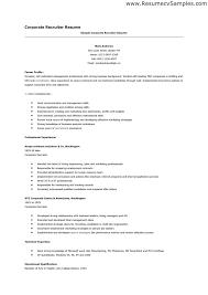 Recruiter Resume Sample Description Entry Level Examples Cooperative