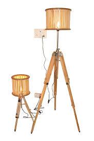 Vintage Designer Set Of Two Tripod Floor Lamp Natural Wood Floor