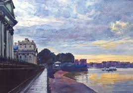 london thames greenwich watercolour watercolor painting