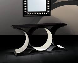 modern black console table  smooth base