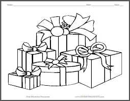 Small Picture Wrapped Christmas Gifts Coloring Page Student Handouts
