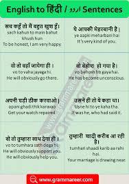 Translation Chart Hindi To English English Sentences With Hindi Translation For Daily Used With