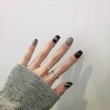 black geometric 24 piece set nail false