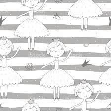 かわいい小さな女の子ベクトルのシームレス パターンのイラストで描かれ