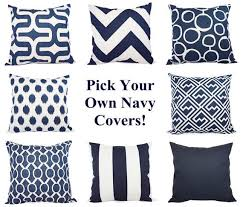 Navy Pillow Covers Two Navy and White Throw Pillow Covers 20 x