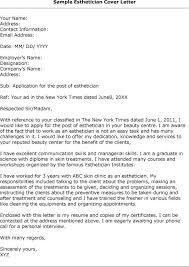 Esthetician Resume Cover Letter
