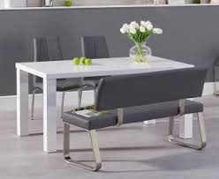 atlanta 160cm white high gloss dining table with cavello chairalaga grey bench