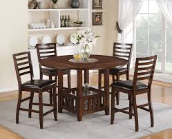 30 Inch Round Kitchen Table Acme Theodora 5 Pc Drop Leaf Counter Height Dining Table Set In