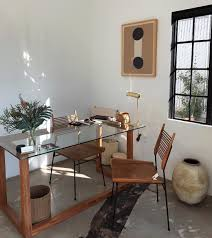 eclectic home office alison. Modern Bohemian Home Office, Boho Studio Space. Organized Desk With Brown Leather Chair Eclectic Office Alison E