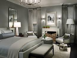 sophisticated small master bedroom with fireplace and grey wall decoration ideas