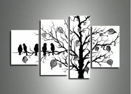>wall art ideas design black and white wall art ideas black and  wall art ideas design black tree branches and white birds decoration contemporary wooden canvas multi panels