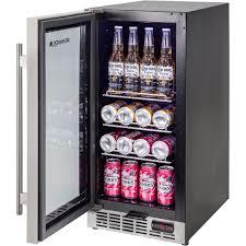 glass door under bench bar fridge plenty of shelf options including wine