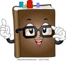 mascot ilration featuring a book with bookmarks inserted between its pages