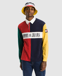 tommy jeans men s long sleeve rugby colour block polo shirt tommy jeans fashion el corte inglés