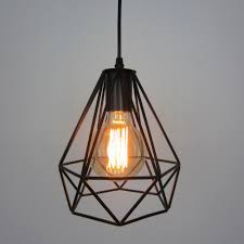 vintage industry iron diamond cage pendant lamp e ac v v throughout shade ideas architecture