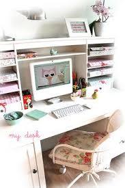 vintage shabby chic inspired office. My Home Office Shabby Chic Desk, White, Pink, Aqua, Light Interior, Vintage Inspired T