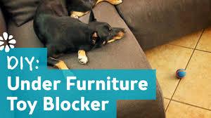 DIY Under Furniture Pet Toy Blocker