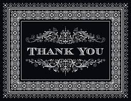 Black Deco Tile Borders Thank You Cards