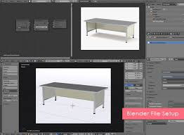 long office desks. Long Office Desk 3D Model Blender File Setup Desks