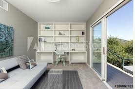 Open space home office Office Furniture Open Space Home Office With Sliding Door Leading To Outdoors Adobe Stock Open Space Home Office With Sliding Door Leading To Outdoors Buy