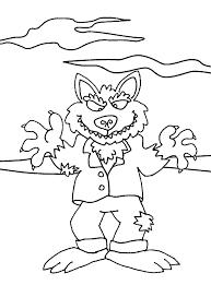 Kleurplaat Een Weerwolf Tijdens Volle Maan Kleurplaatjecom