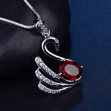 details about silver swan pendant ruby red crystal cz white gold filled women wedding necklace