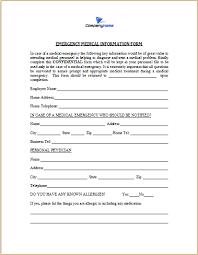 Emergency Medical Form Template Under Fontanacountryinn Com