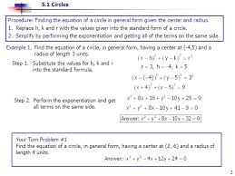 5 1 circles 2 procedure finding the equation of a circle in general form given the