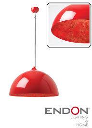 endon bardem pendant ceiling light gloss red bardem re none