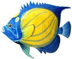 metal fish decor painted metal blue angelfish tropical fish wall decor painted metal art see more