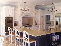 Marvelous Shaped Island In Kitchen Sink With Chandeliers
