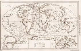 Exploration Chart World Exploration Explorers Routes Dates Centuries Bartholomew 1952 Old Map