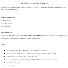 Dental Assistant Resumes Objective Goal For Resume Here To Download ...