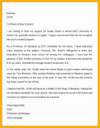 Letter Of Recommendation For Masters Program Template Business