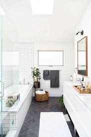 modern white bathroom ideas. Love This Large Charcoal Gray Diagonal Tiles On The Floor Paired With White Subway And Grout In Shower. Such A Fresh Look Modern Bathroom Ideas M
