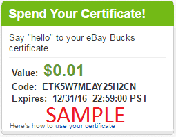 get your code from the ebay bucks section of my ebay