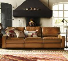 potterybarn living room. turner leather square arm sofa- grand sofa @ potterybarn x living room n