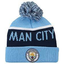Manchester City Wordmark Bobble Knit Hat - Sky - Adult