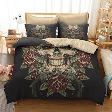 Designer Bedding Collections Discount Us 33 96 40 Off Fanaijia 3d Sugar Skull Duvet Cover With Pillowcases Skull Luxury Bedding Sets Queen Size Bed Sets In Bedding Sets From Home