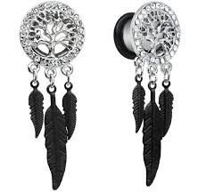 Dream Catcher Tunnels 100mm to 100mm Black Dream Catcher Stainless Steel Ear Plug Tunnel 45