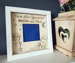 Box Picture Frame Moon Stars New Baby Boy Girl Glass Box Frame