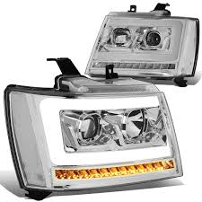 07 Tahoe Daytime Running Light Bulb Pair Led Drl Sequential Turn Signal Projector Headlight Lamps For 07 14 Chevy Tahoe Suburban Avalanche Chrome Clear