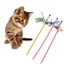 cat toys interactive with bells elastic rod dragonfly cat teaser wand funny toys for cat kitten