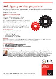 AAR Agency seminar programme