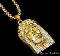 whole men hip hop jewelry long necklace 18k real gold filled plated full crystal necklace with gold chain for diamond heart necklace silver chains