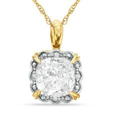 8 0mm cushion cut white topaz and diamond accent frame pendant in 10k gold