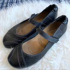 Taos Mary Jane Leather Flats Black Shoes Strap